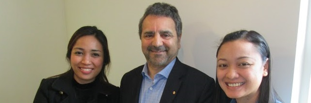 Photo of Dr Romylyn Metila, Prof Joe Lo Bianco and Lea Pradilla